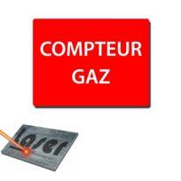 """Mygoodprice - Plaque gravée autocollante 20x15cm """"compteur de gaz"""" fond rouge"""