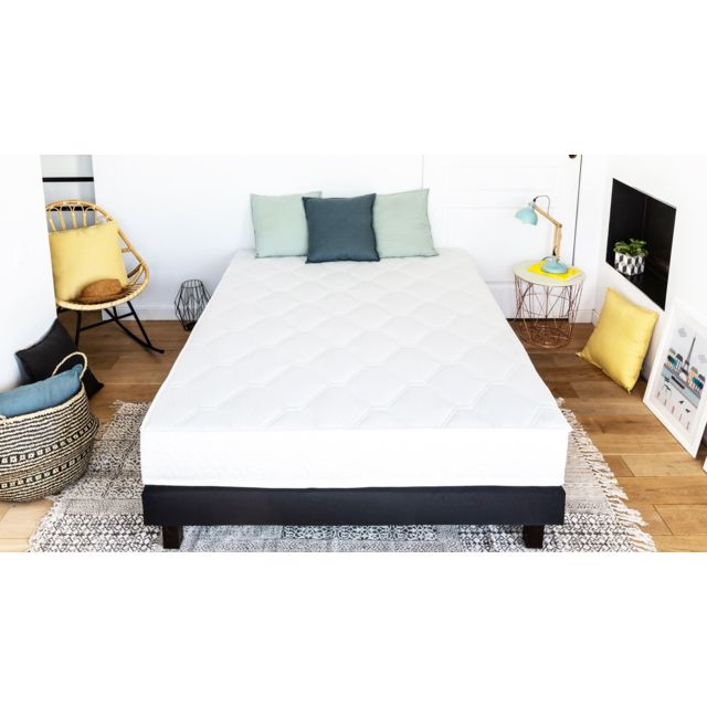 hbedding ensemble matelas ressorts sommier 160x200 spring confort mousse ergonomique et. Black Bedroom Furniture Sets. Home Design Ideas