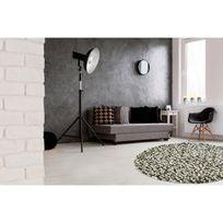 Deladeco - Tapis rond naturel en laine feutrée épais pour salon gris Missi