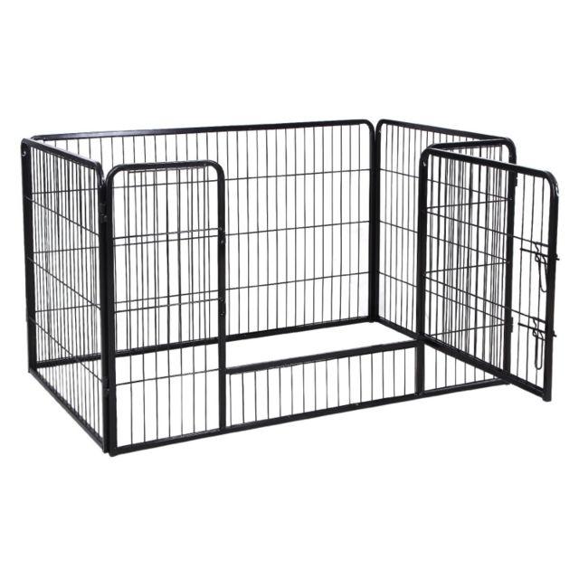7a8ac17f473133 Helloshop26 - Parc enclos cage pour chiens chiots animaux de compagnie 120 x  80 cm noir