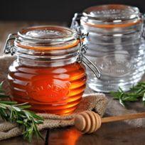 Kilner - Pot à miel en verre et métal avec joint et cuillère à miel Round clip top