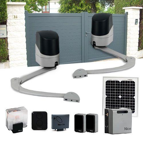 nice motorisation portail 2 battants popkit solaire solemyo accessoire pas cher achat. Black Bedroom Furniture Sets. Home Design Ideas