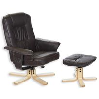 IDIMEX - Fauteuil relaxation repose-pieds CHARLY brun
