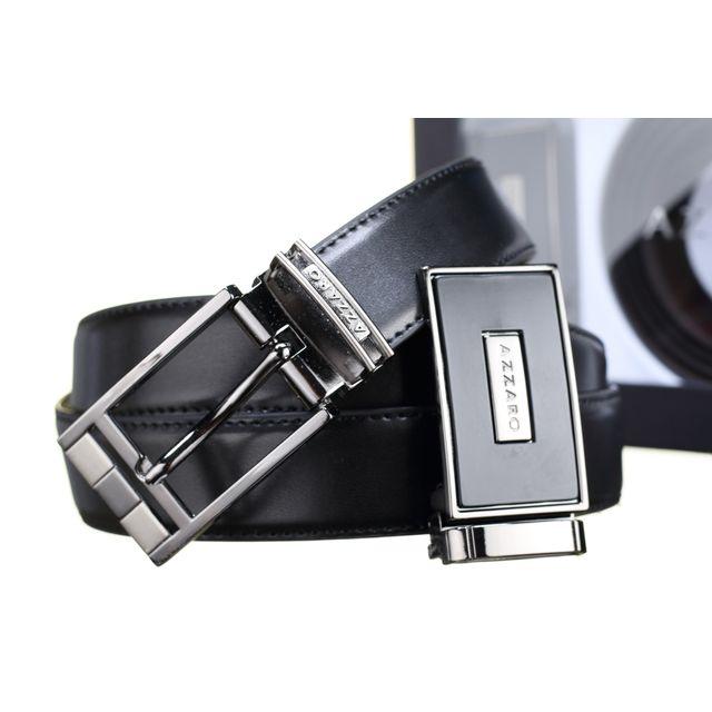 4a77c8799429 Azzaro - Ceinture Coffret 2 Boucles 737 Reversible Noir Marron - pas cher  Achat   Vente Ceinture homme - RueDuCommerce