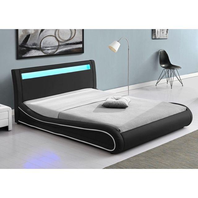 CONCEPT USINE Lit Design Richmond 160x200 Noir tête de lit LED
