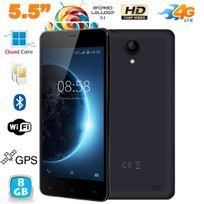 Yonis - Smartphone 4G 5.5 pouces Android Lollipop Quad Core Dual Sim 8Go Noir