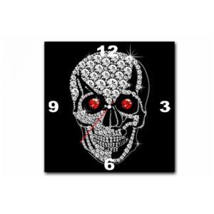 declikdeco tableau horloge rock 39 n 39 roll tete de mort. Black Bedroom Furniture Sets. Home Design Ideas