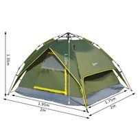 OUTSUNNY - Tente de camping 2 personnes double toit imperméable 2 x 2 x 1,35 m vert kaki montage démontage facile + sac de transport fourni neuf 18