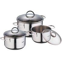 Bergner - Classic - Sets de poêles et casseroles Acier inoxydable 16X9.5CM / 18X10.5 / 20X11.5 Bon pour l'induction