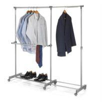IDIMEX - Portant à vêtements LONDON penderie sur roulettes rangement vestiaire hauteur et longueur réglables chromé et gris