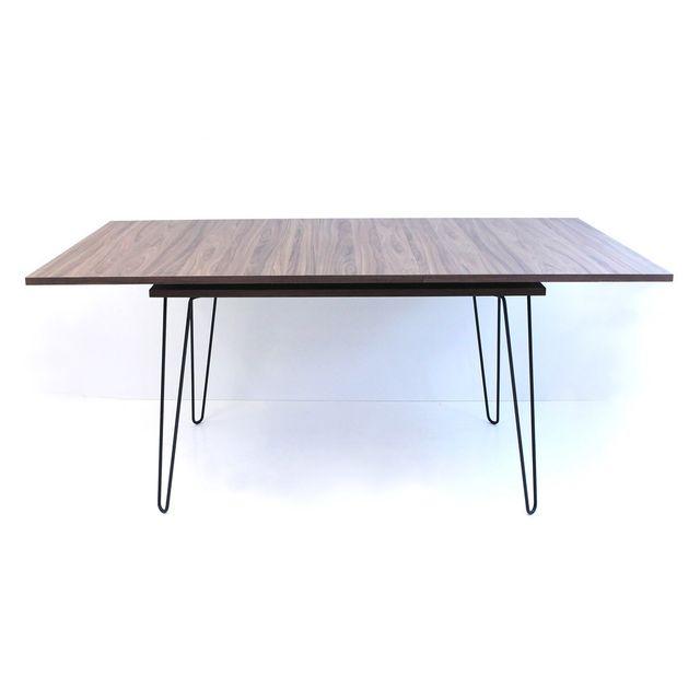 Symbiosis Table à manger en bois avec allonge et pieds métal L134/174cm Aero - Noyer
