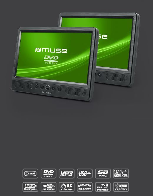muse pack dvd embarque double ecran m 1095 cvb pas cher achat vente lecteur dvd. Black Bedroom Furniture Sets. Home Design Ideas