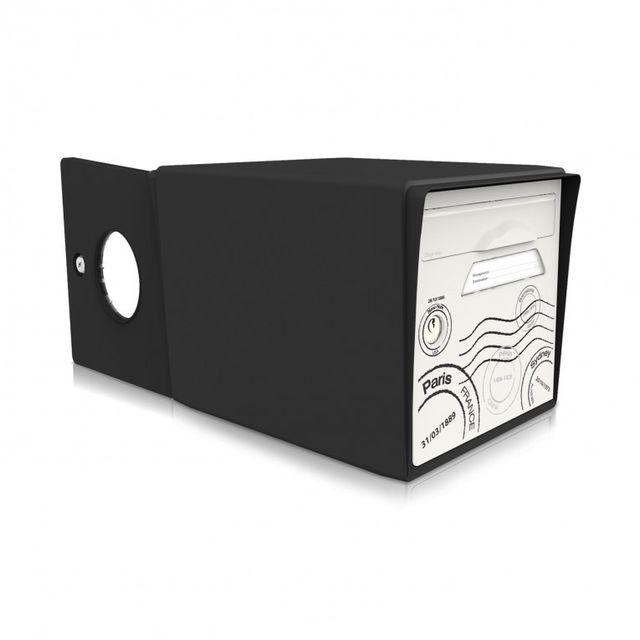 signee bo te aux lettres 2 portes globe trotter noir. Black Bedroom Furniture Sets. Home Design Ideas