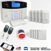 EMATRONIC - Alarme kit mixte sans fil et filaire Gsm Al01 Premium - Pour 4 ou 5 pièces
