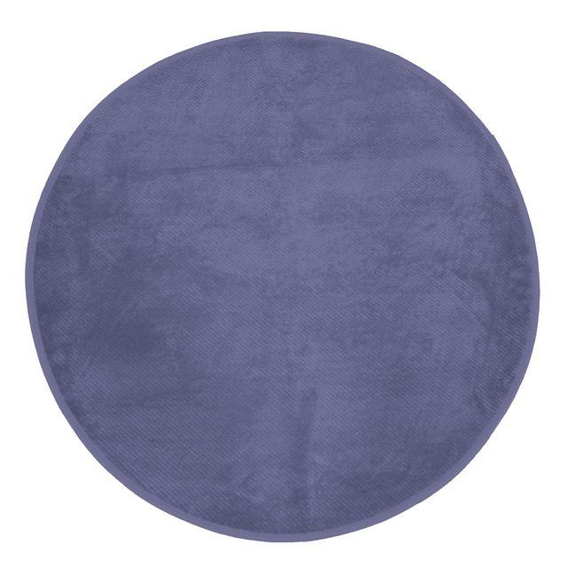 Le Jardin Des Cigales Cdaffaires Tapis rond 0, 90 cm velours uni kalina Bleu