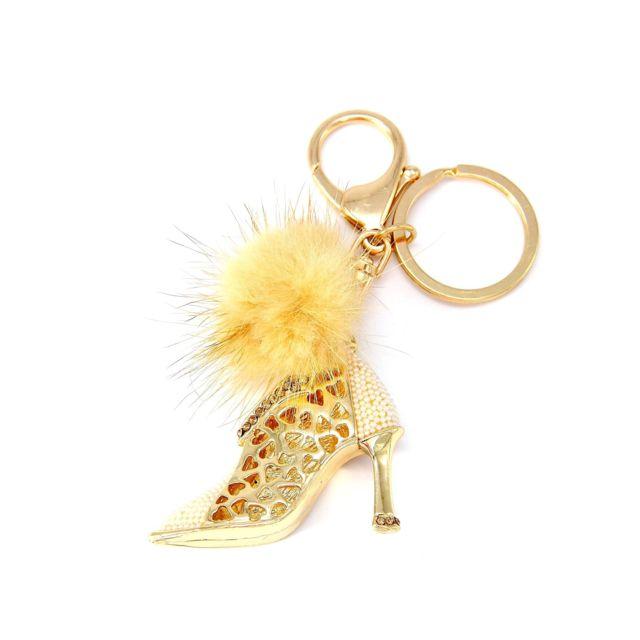 Oh my shop pt384 porte clés bijou de sac bottine talon strass doré et pompon beige