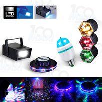 Mydj - Kit Fiesta 4 Jeux lumière effet Ovni + Stroboscope + Ampoule Disco + Chenillard 3 Couleurs