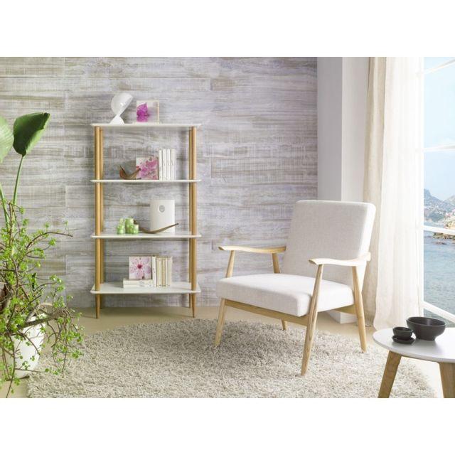 Ma Maison Mes Tendances Fauteuil en frêne et tissu blanc Edmea - L 73 x l 79 x H 85.5
