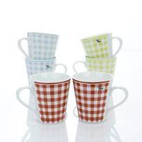 Cosy&Trendy - Mug en faience - 30cl - Lot de 6 assorties - Vichy