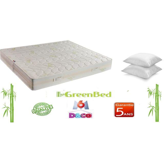 Greenbed Matelas de 90x200cm Luxe et Confort Basic avec 23cm d'épaisseur + 2 Oreillers 60x60cm microfibre de 600g