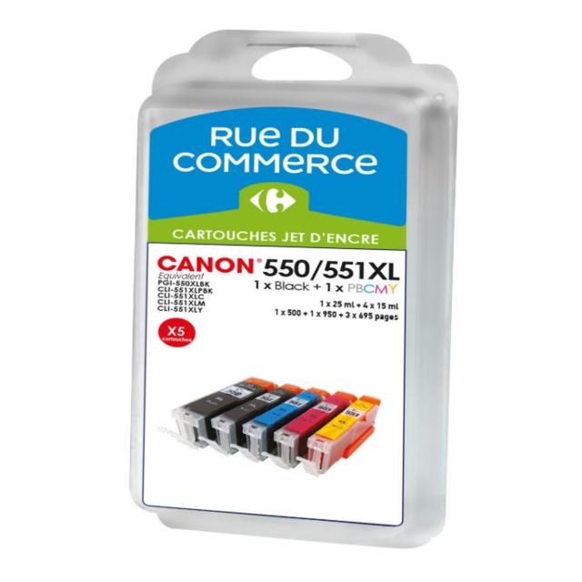 RUE DU COMMERCE Pack de 5 cartouches compatibles Canon PGI 550XL / CLI 551XL BK/C/M/Y/PHBK