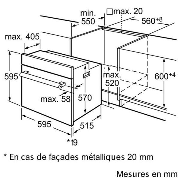 Bosch - four intégrable 60l 60cm a pyrolyse hba63b262f noir - hba63b262f