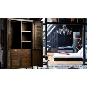 house and garden armoire bois massif design industriel. Black Bedroom Furniture Sets. Home Design Ideas