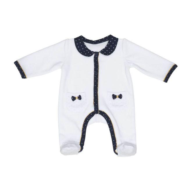 gamme complète de spécifications site web pour réduction fournisseur officiel Pyjama velours blanc naissance Hello