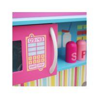 Marque Generique - Cuisine interactive en bois enfant avec four micro-ondes et équipement jeu d'imitation Abra | Mulicolore
