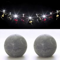 Feerie Lights - Guirlande lumineuse perles rouge et or et bougies boules grises