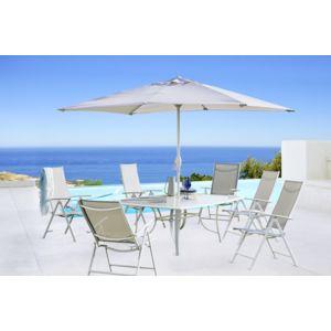 Carrefour rona set table 6 fauteuils et un parasol for Chaise a trou