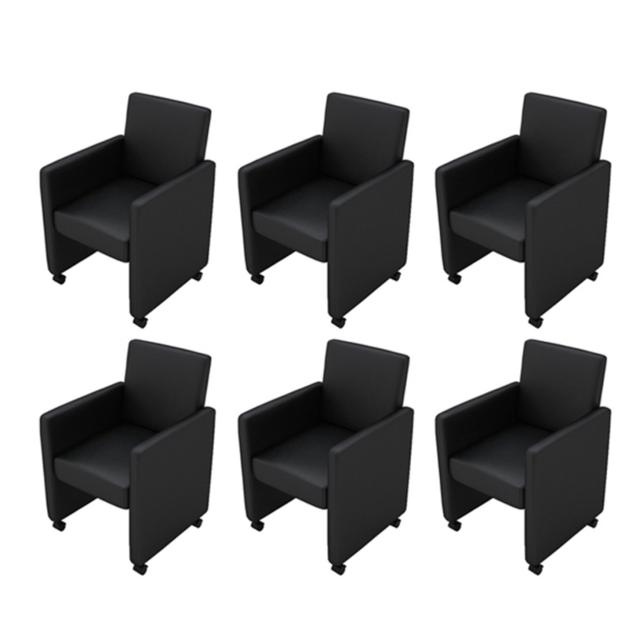 Rocambolesk Superbe Fauteuil/Chaises à roulettes noir lot de 6, Neuf