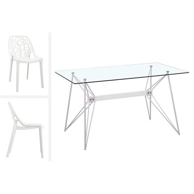 Giovanni Ensemble Table de repas Design Vega et 6 chaises