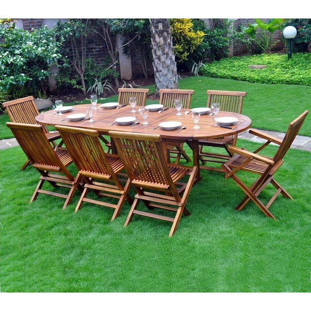 Salon de jardin en teck pour 8 à 10 personnes