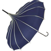 Blooming Brollies - Parapluie forme Pagode - Bleu marine finition petits pois - Manuel