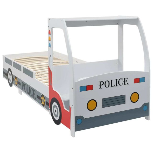 Vidaxl Lit Voiture de Police avec Bureau pour Enfants Cadre Sommier à Lattes