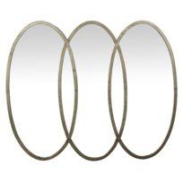 Pomax - Miroir triptyque ovale en fer 108x87x3cm Lily