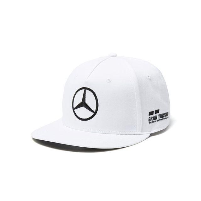 Mercedes Amg Casquette Driver Lewis Hamilton Visière Plate Blanche