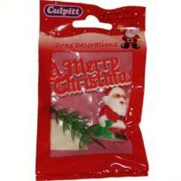 Autre - Sujets de décorations pour gâteaux de Noël - Merry Christmas rouge