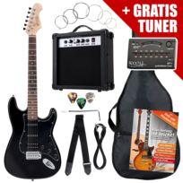 Rocktile - St Pack guitare électrique noire en set incl ampli, housse, accordeur, câble, sangle