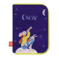 L'OISEAU Bateau - Protège carnet de santé brodé Lapin lune bleu
