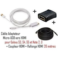 Cabling - Cable Adaptateur micro usb vers hdmi Mhl pour telephone samsung galaxy S4 - Samsung Infuse 4G - galaxy Nexus - Premium qualité - Blanc + coupleur Hdmi + cable Hdmi 20M