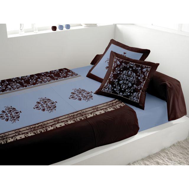 soleil d 39 ocre parure de lit miskolc bleu 300cm x 240cm pas cher achat vente parures de. Black Bedroom Furniture Sets. Home Design Ideas