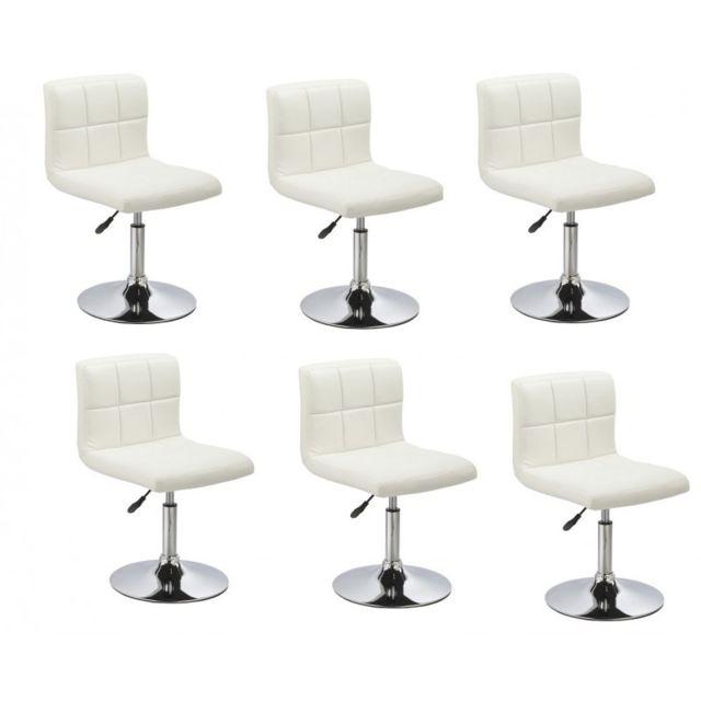 Autre Lot de 6 chaises de salle à manger / cuisine simili-cuir blanc hauteur réglable Cds09214