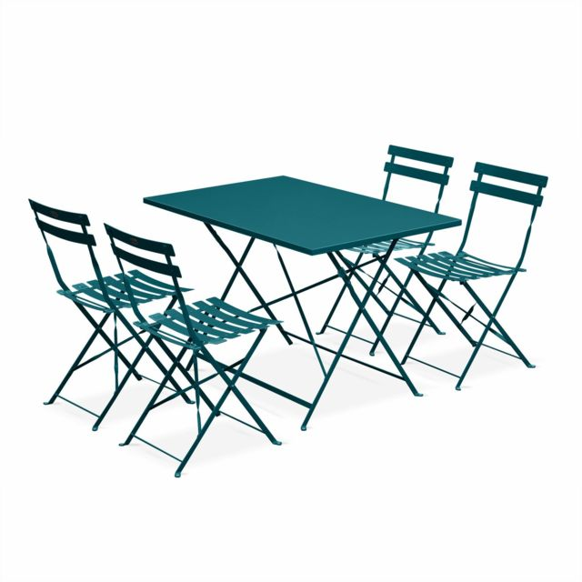 alice 39 s garden salon de jardin bistrot pliable emilia rectangulaire bleu canard table. Black Bedroom Furniture Sets. Home Design Ideas