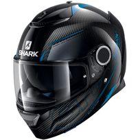 Shark - casque moto intégral en Carbone Spartan Carbon Silicium Dba noir gris bleu brillant 2XL