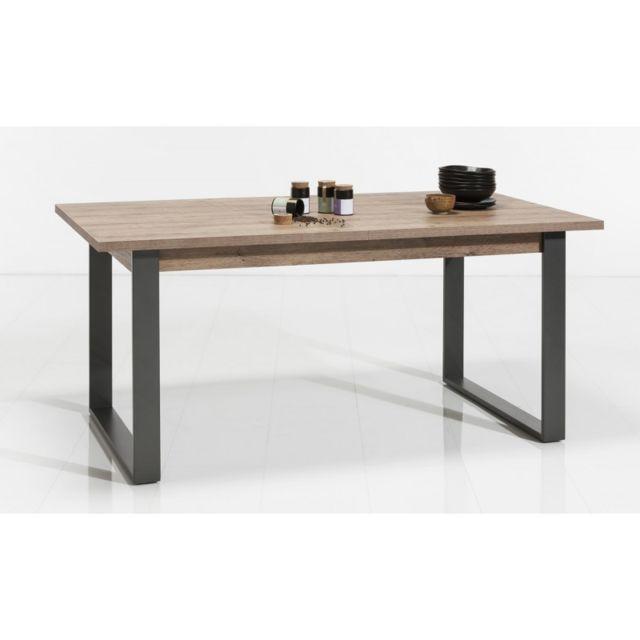 Meubletmoi Table de repas 180 cm extensible en bois et métal - Brooklyn