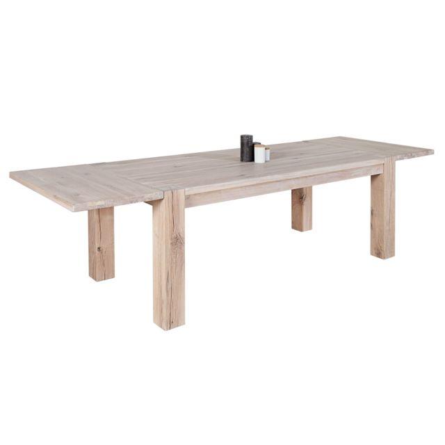 Comforium Table à manger extensible 200 - 300 cm en bois massif coloris blanc huilé