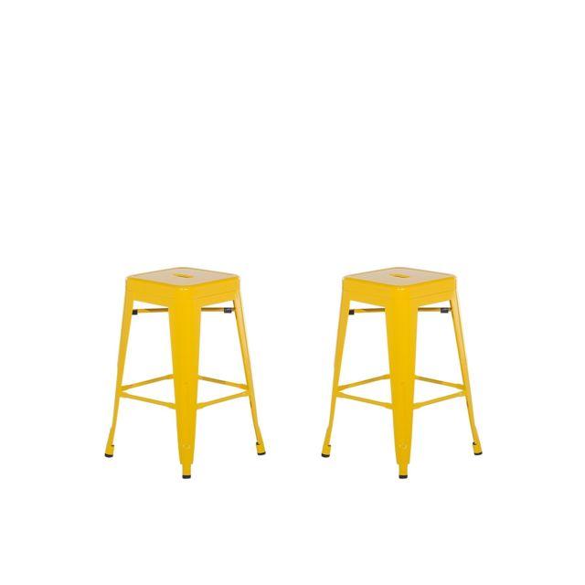 2 tabourets de bar jaune de 60 cm CABRILLO