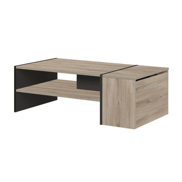 Tousmesmeubles Table basse avec coffre Noir/Bois clair - Chicala